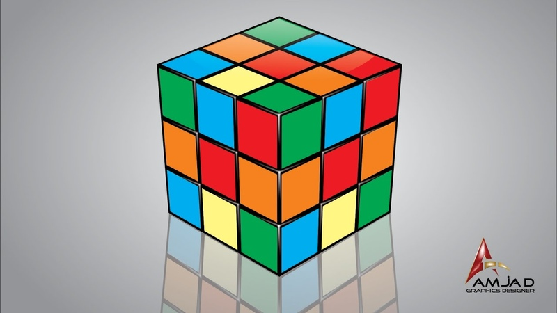 How to Create Rubik's Cube in Corel Draw x7 Tutorial by Amjad Graphics Designer
