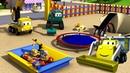 Строительная Бригада - Батут - Автомобильный Город 🚧 детский мультфильм