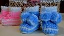 Пинетки спицами узором Ёжик(Кукурузка). Baby booties. Knitting pattern Hedgehog (Corn).