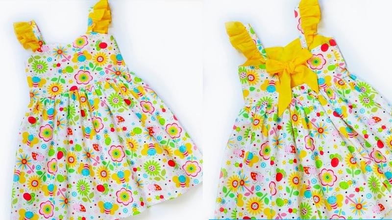 Как сшить детское летнее платье с открытой спинкой и бантиком