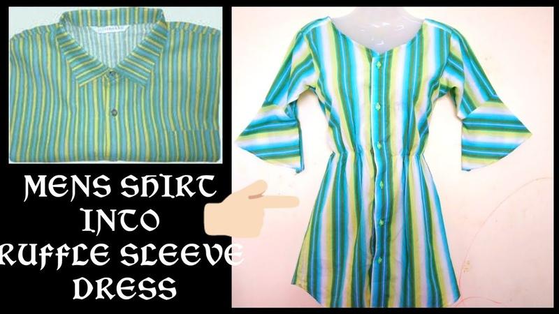 DIY Convert Reuse old mens shirt into ruffle sleeve dress hindi