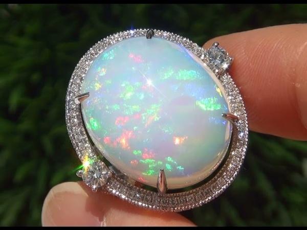 ESTATE Natural Ethiopian Fire Opal Diamond 14k White Gold Cocktail Ring - A131344