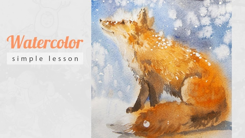 How to Draw a Winter Fox with Watercolor. Christmas story 03