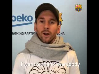 Leo Messi I want to thank everybody who chose my goal as the best. Thanks for this gift a.mp4