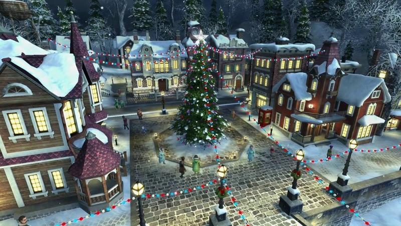 4K 🎅🎄 Christmas Snowing Village ☃️❄️⭐️ Xmas Music ⭐️ 2 Version⭐️ 3 HR