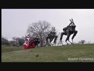 Boston Dynamics Robo-Dogs pulling a sleighBoston Dynamics Robo-Dogs pulling a sleighBoston Dynamics Robo-Dogs pulling a sleigh