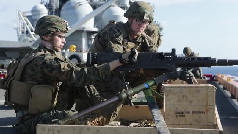 31st MEU Marines Wasp ARG Sailors rehearse ship defense at sea ABOARD USS WASP LHD 1 PHILIPPINE SEA