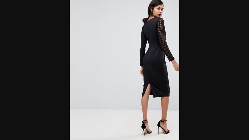 ASOS Black Mesh Sleeve Dress