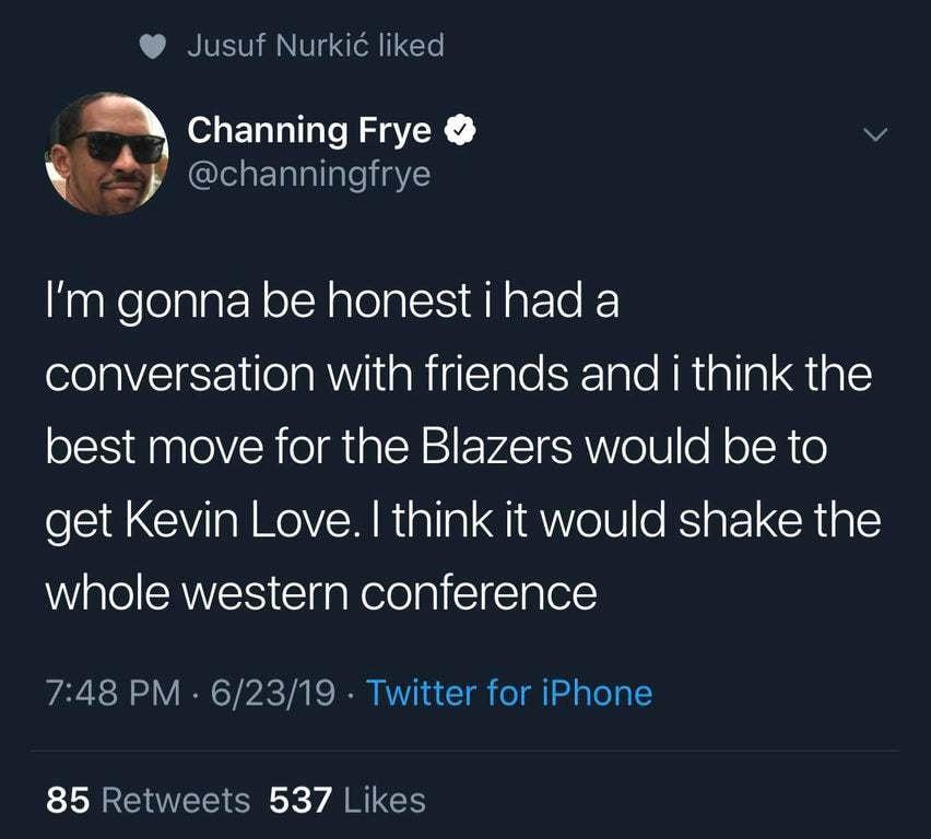 Юсуф Нуркич лайкнул пост Ченнинга Фрая о переходе Кевина Лава в «Портленд»