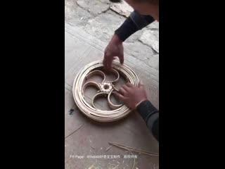 Бамбуковый самокат по китайски 竹制~儿童滑行车 好酷啊