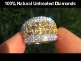 JAW DROPPING 4.95 Carat Multi-Colored Diamond Cocktail Ring Solid 14K Gold - 176 DIAMONDS