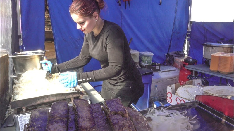 Cooking Huge Kebab, Lamb and Chicken Wraps. London Street Food