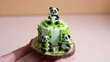 Miniature Pandas cake. Polymer clay. Miniature food. Tutorial. DIY. Торт с пандами.