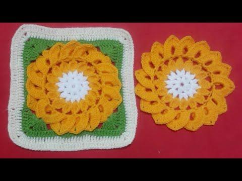 Segunda Parte Cuadrado A Crochet Con Flor Para Colchas