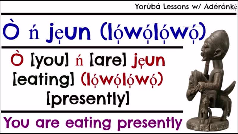 Aderonke. Verb Eat. E.g. Sentences with Pronouns in Before, During and After Forms