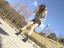 Lovely Japanese girl stands there and pees outdoors