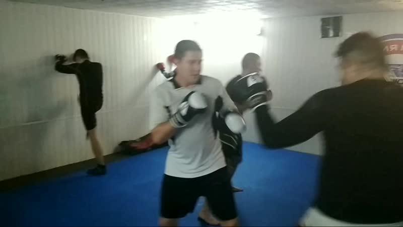 Моменты легких спаррингов в боксерских перчатках
