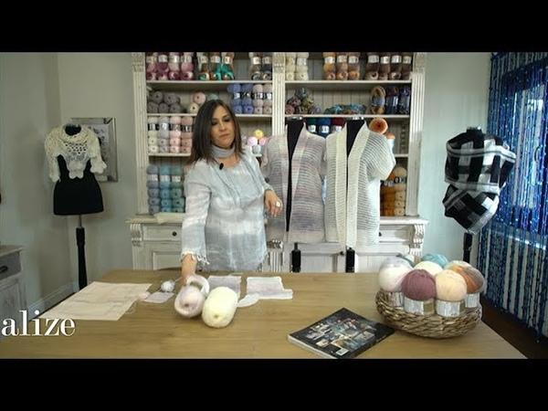 Tunus İşi hafif hırka yapımı Making A Light Tunisian Work Vest with Alize Angora Gold