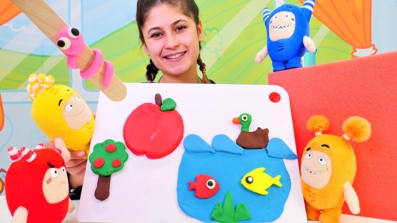 Ayşe Oddbods oyuncaklarına oyun hamurundan masal anlatıyor
