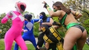 POWER RANGERS VS MORTAL KOMBAT EPIC FLASH MOB BATTLE IN NYC it's morphin time