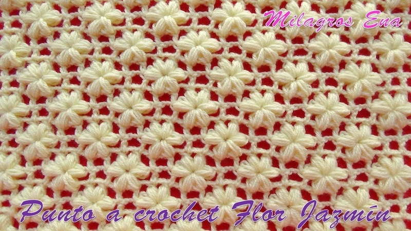 Punto a crochet FLOR JAZMÍN paso a paso para aplicar en mantitas, chalecos y cojines