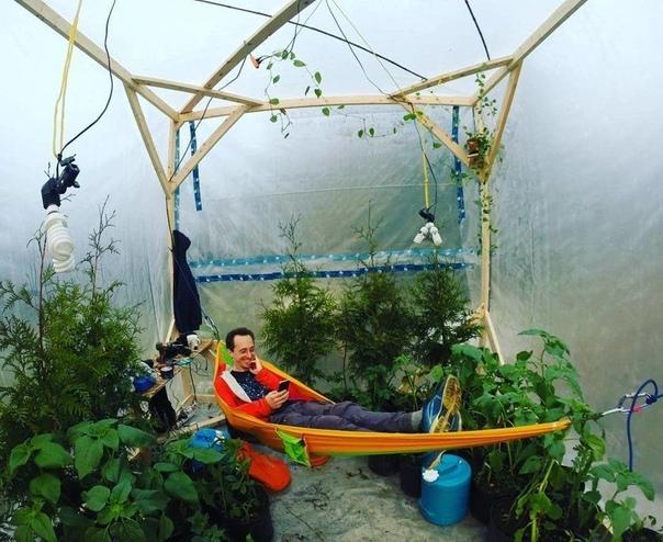 Канадский блогер Куртис Бауте построил воздухонепроницаемый парник с сотнями растений (тыквой, подсолнухом, картофелем и кукурузой) и заперся в нем, чтобы доказать, что он сможет прожить в теплице три дня благодаря производимому растениями кислороду. Эксп
