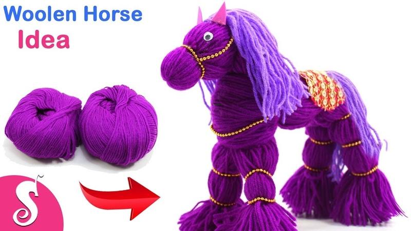 DIY Horse Idea   Make Homemade HORSE Showpiece from WOOLEN for Room Decor   Sonali Creation 172
