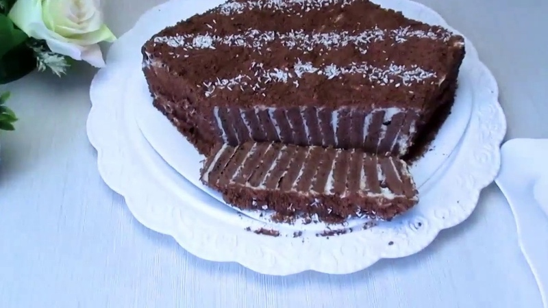 Вкусный торт без выпечки с шоколадным печеньем и заварным кремом / كعكة لذيذة بدون الخبز