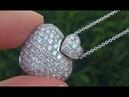 Estate Natural VVS2/F Natural Diamond Heart Pendant Necklace 18k White Gold - C672