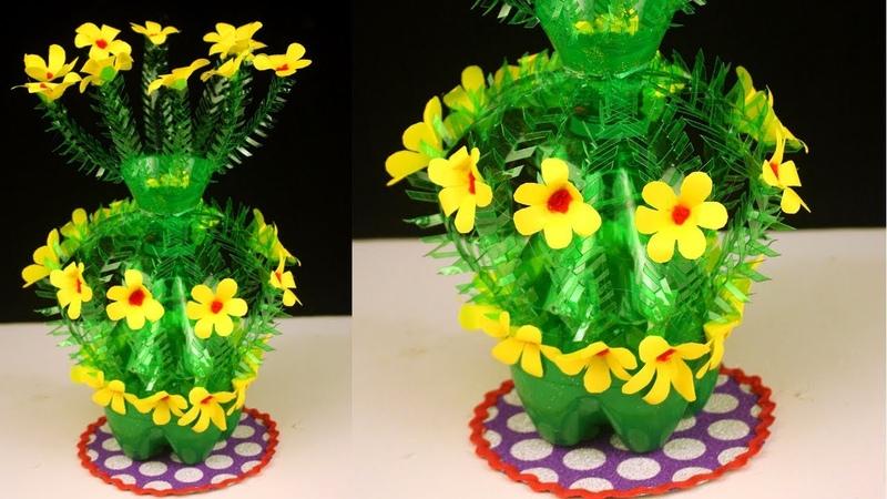 Plastic Bottle Paper Craft Flower Vase - Creative Ways to Reuse Plastic Bottle best out of waste