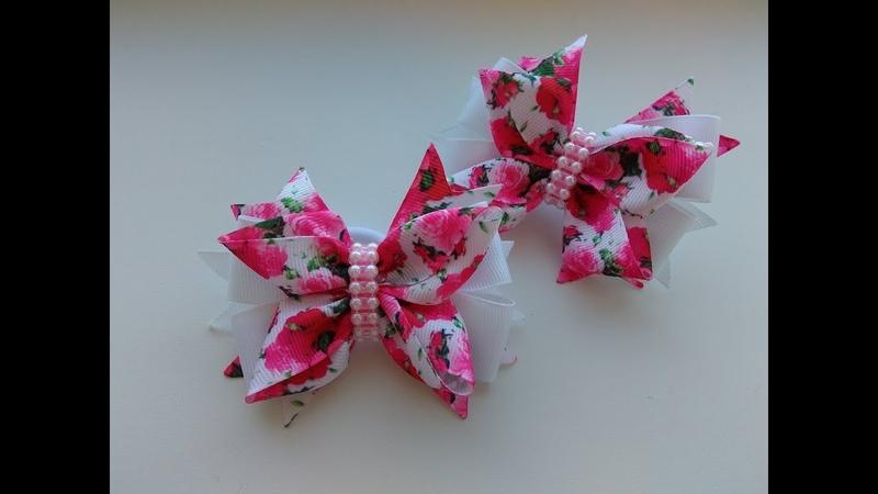 Красивые бантики из лент 2,5 см МК Канзаши Bows of rep ribbons 2.5 cm Laços de fita 2,5 cm