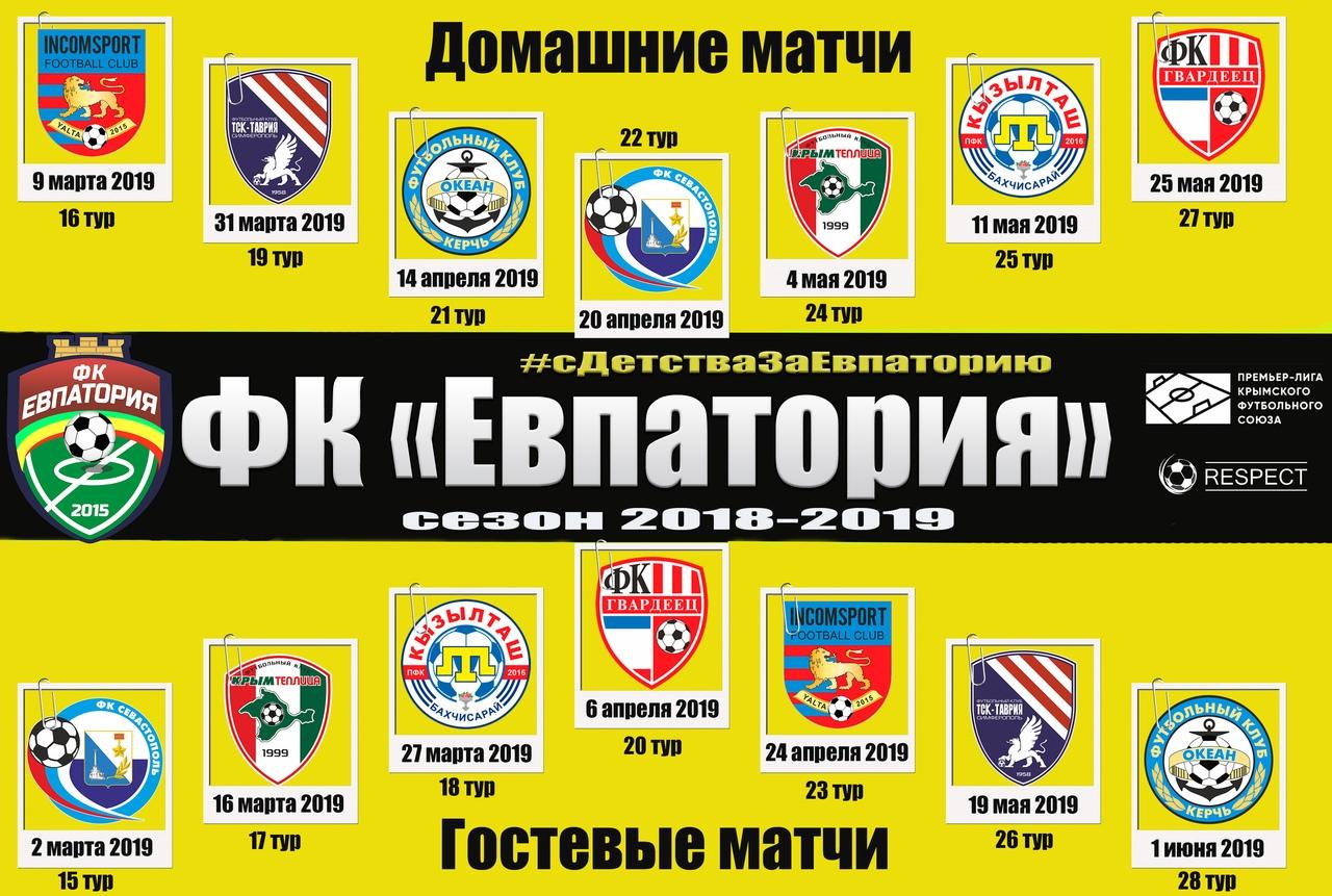 Расписание домашних и гостевых матчей с участием ФК Евпатория (Премьер-лига КФС (3 и 4 круг) сезон 2018-2019)