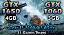 GTX 1650 vs GTX 1060 | core i3 8100 @3.6GHz | Tested in 11 PC Games in 1080p 1440p 4K