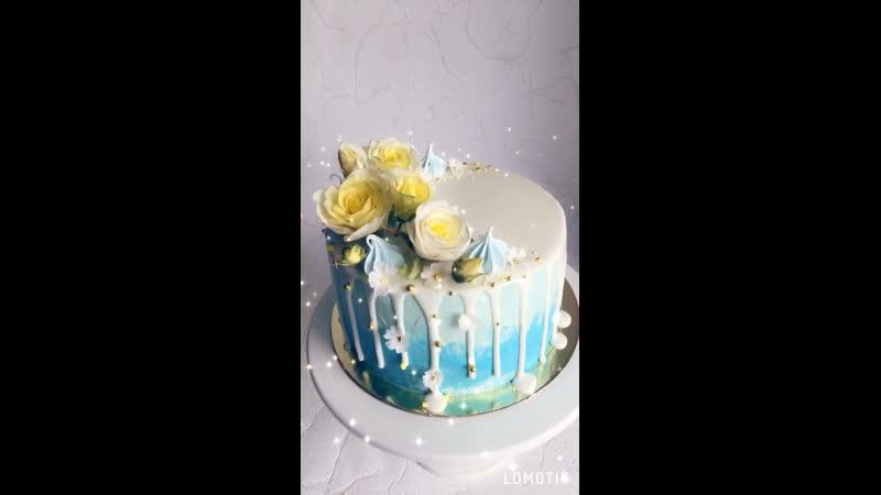 Торт с сахарными цветами 🌸🌸🌸