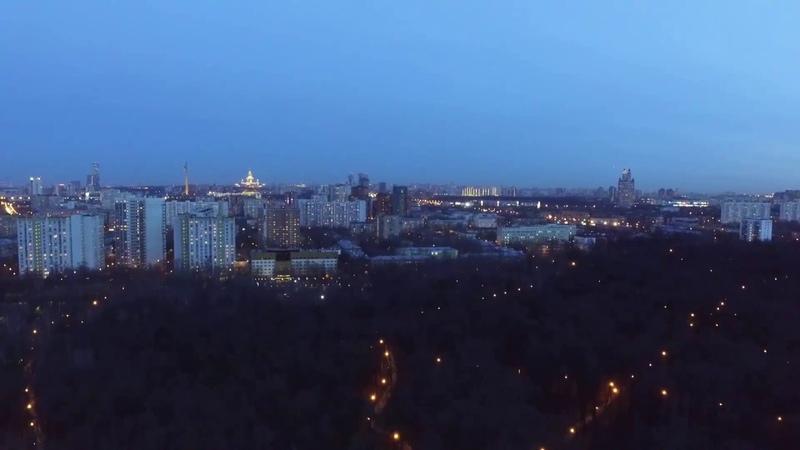 Прекрасный вид с воздуха из Филевского парка на Moscowcity.