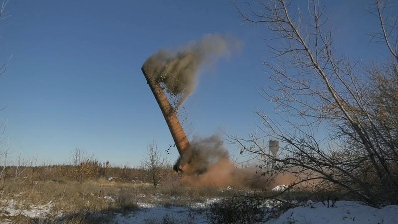 Промышленный подрыв трубы бывшего мясокомбината с. Есипово, Воронежская область.