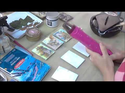 Создаем КАРТОЧКИ ДЛЯ ОБМЕНА С ВОСКОВЫМ МЕДИУМОМ видео МК по микс медиа энкаустике Натальи Жуковой