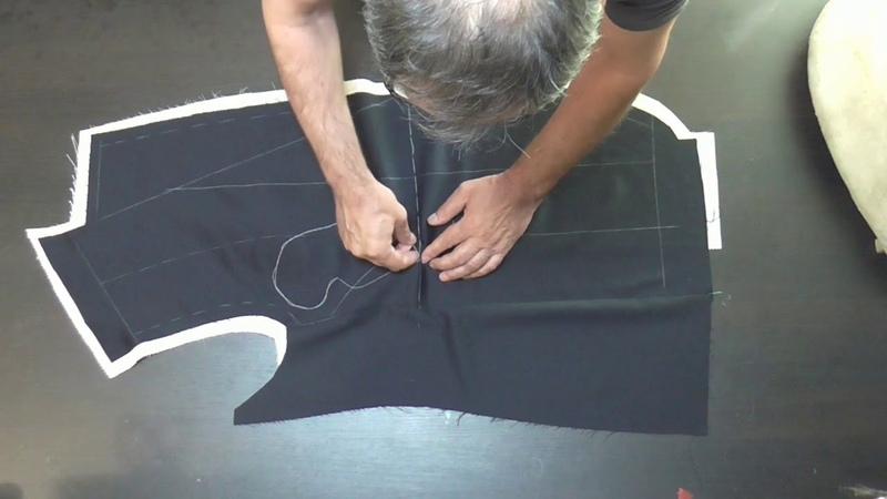 Соединение бортового пакета с полочкой безклеевого мужского пиджака ВТО полочки