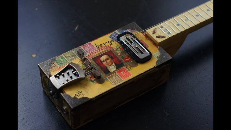 Vintage 6 string mandolin style cigar box guitar Mockingbird