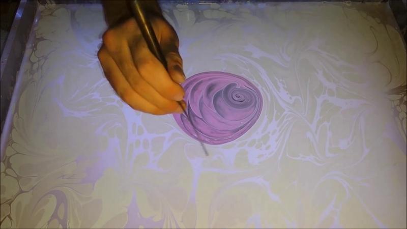Wonderful Rose on Water Marbling Ebru Sanati gül