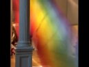 Indoor rainbow made with 60 miles of string