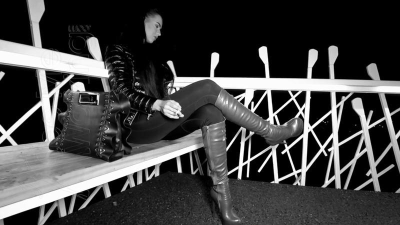 Smoking in High heel leather boots Cutouts from video Night Smoker www.SeeMeWalking.com