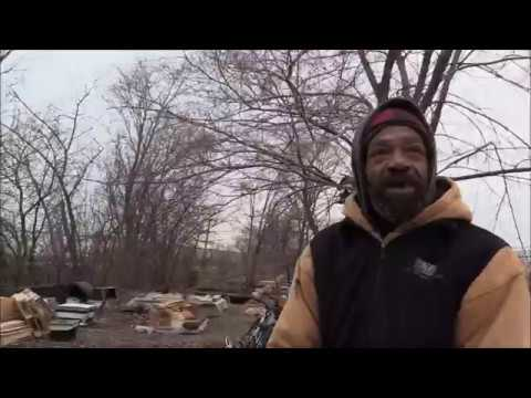 Homeless Man Lives By The Detroit River All Year Long Hispanic Area South West Detroit