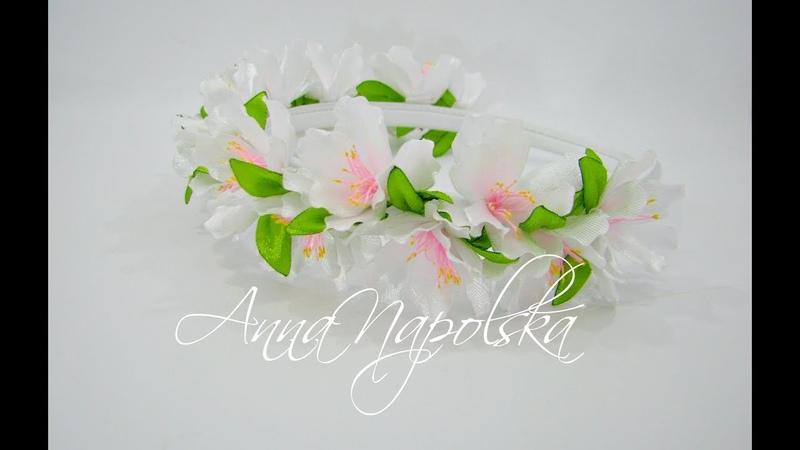 Обруч Яблуневий цвіт канзаши. Ободок своими руками. Headband kanzashi