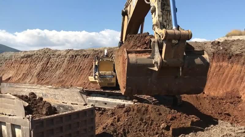Cat 385C Excavator Loading Trucks - Sotiriadis Brothers