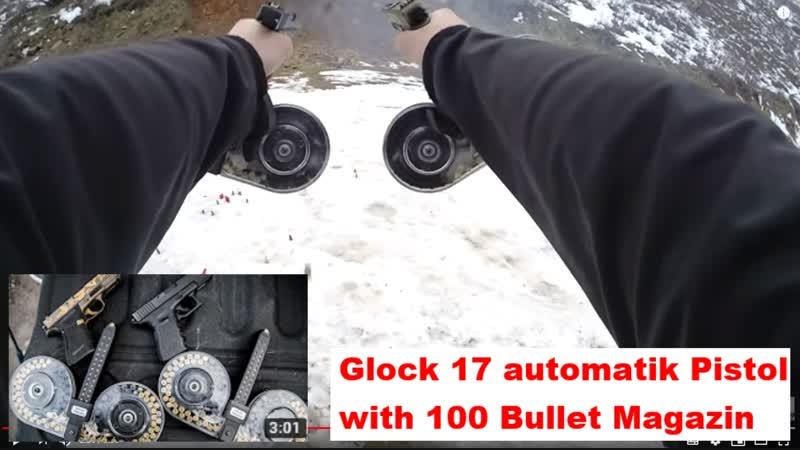 Glock 17 automatik Pistol with 100 Bullet Magazin