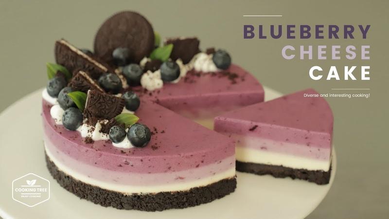Корейский черничный торт- чизкейк без выпечки с шоколадным печеньем Орео / 노오븐! (ღ˘◡˘ღ) 오레오 블루베리 치즈케이크 만46308