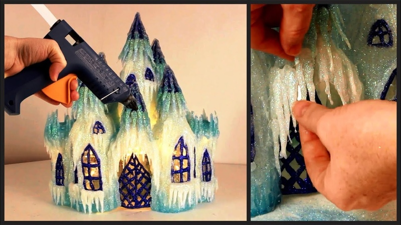 ❣DIY Frozen Castle Lamp Using Plastic Bottles and Hot Glue❣