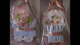 Коляска из памперсов - подарок на рождение ребенка своими руками Stroller made of diapers