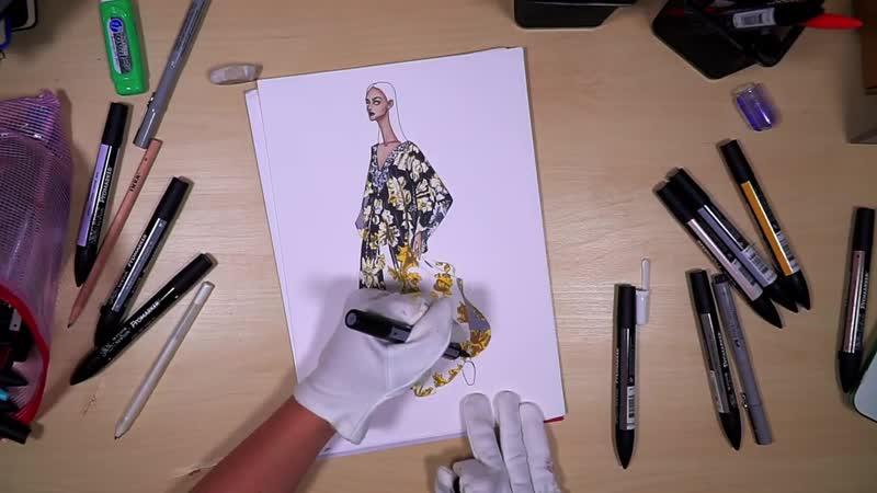 B for Badgley Mischka. BROCADE _ Fashion Drawing